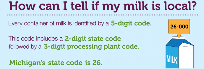 Michigan milk is identified by a 5-digit code starting with 26.