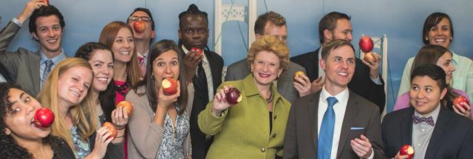 Senator Stabenow and friends show off their Michigan apple crunches!